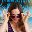 Happy summer vacation girl. - Stock Photo