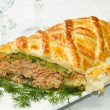 Traditional salmon in puff pastry — Stock Photo