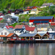 Village and Sea view on mountains in Geiranger fjord, Norway  — Stock Photo