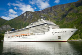 Cruise ship in Norwegian fjords — Stock Photo