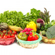 Organic food background Vegetables in the basket — Stock Photo