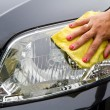 Hand with a wipe the car polishing — ストック写真