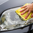 Hand with wipe car polishing — Foto Stock #27439997