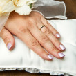 Stock Photo: Bridal hands with wedding ring