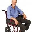 Smiling aged man patient in a wheelchair — Stock Photo