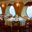 Restaurant on board a cruise ship ready for dinner — Stock Photo #28940909