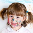 Little girl draws paints — Stock Photo #29090961