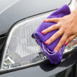 Hand with a wipe the car polishing — Stok fotoğraf