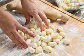 Fresh homemade potato gnocchi ready for cooking — Stock Photo