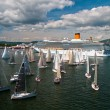 Stock Photo: Group of dragon yacht sail in regatta