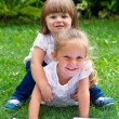 Stock Photo: Little sisters are resting on green grass in summer with boo
