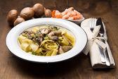 Shrimp and Mushroom Pasta — Stock Photo
