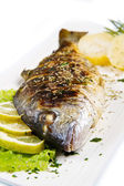 Grilled gilt head sea bream on plate with lemon and rosemary and — Stock Photo