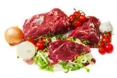 Huge red meat chunk isolated over white background — Stock Photo