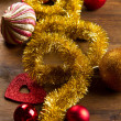 Christmas decoration on wooden table — Stock Photo #34919989