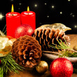 Christmas candle with pine cone — Foto Stock