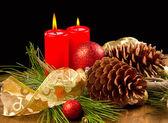 Świeca Boże Narodzenie z szyszka — Zdjęcie stockowe