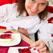 Beautiful young chef with dessert — Stock Photo #36142865