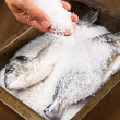 Stock Photo: Gilt head sebream baked in sesalt