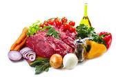 Huge red meat chunk with vegetables — ストック写真