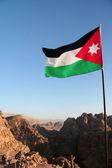 Flag of Jordan in mountain  — Stock Photo