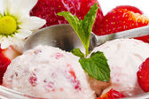 Strawberry ice cream with fruits close up — Stock Photo