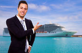 Young man show the Cruise Ship — Stok fotoğraf