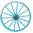 Stock Photo: An old blue wagon wheel