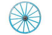 An old blue wagon wheel — Stock Photo