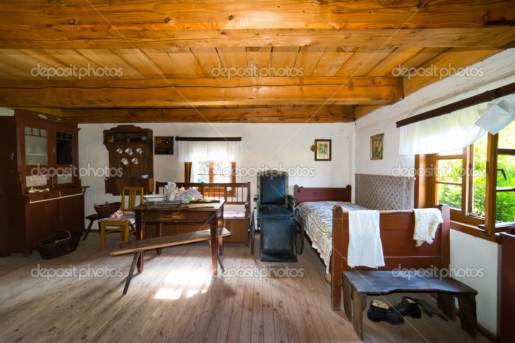 Inside of old rural home in poland xixth century stock - Vieille maison de campagne ...
