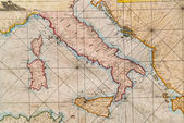 Old map of Italy, Sicily, Corsica, Croatia and Sardinia — Stock Photo
