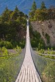 Hanging bridge over seasonal river — Стоковое фото