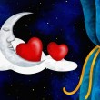 Hearts and moon — Stock Photo