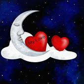 Two hearts and moon — Stock Photo