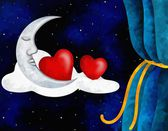 Hearts and moon — Foto Stock