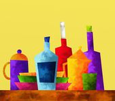 Colored bottles — Stock Photo