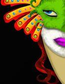 Mulher e verde máscara de carnaval — Fotografia Stock