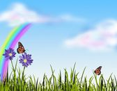 Grass and butterflies — Stock Photo