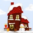House with snowman — Stock Photo