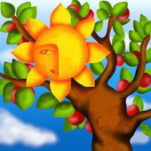 Apple tree and sun — Stock Photo