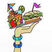 Sandwich y bebida — Foto de Stock