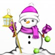 Snowman with lantern — Stock Photo