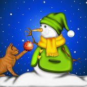 Snowman with red kitten — Stock Photo