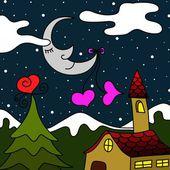 Moon and church — Stock Photo