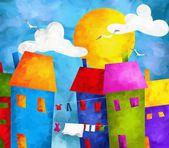 Kolorowe domy — Zdjęcie stockowe