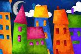 色彩缤纷的房子,在夜间 — 图库照片