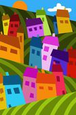 Colorful houses in the hills — Stock Photo
