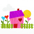 House and hearts — Stock Photo