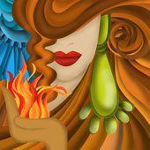 Kvinna med brunt hår — Stockfoto