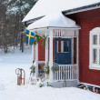 Red painted wooden house in Sweden — Stock Photo #18410083